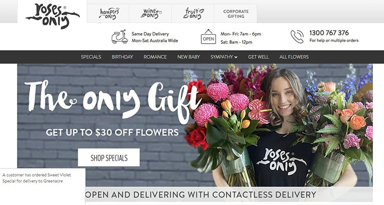 rosesonly cheap flower delivery service